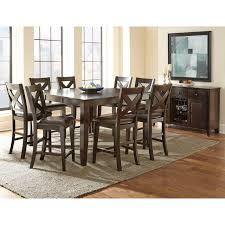 steve silver crosspointe 9 piece counter height dining table set with optional server dark espresso cherry hayneedle