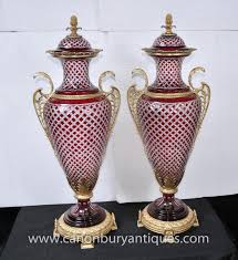 Large Decorative Vases And Urns Photo Of Pair Large Empire Glass Amphora Urns Vases French Ormolu 86