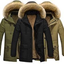 Men's <b>Fur Collar</b> Hooded Parka Winter <b>Thicken</b> Down Coat Outwear ...