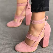 <b>Women</b> Sexy Heels 5 Colors Suede Straps <b>Thick High</b> Heeled ...
