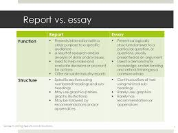 writing reports and evaluations ppt video online  4 report vs essay report essay function structure