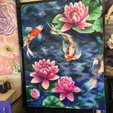2448x2448 koi fish pond with lotus flowers surrounding colorful acrylic lotus blossom painting