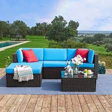 Tuoze 5 Pieces Patio Furniture Sectional Set Outdoor All Weather Pe Rattan Wicker Lawn Conversation Sets Cushioned Garden Sofa Set With Glass Coffee Table Blue Garden Outdoor