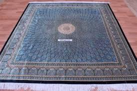 7 2m square qum pure silk qom persian rug with gonbad design