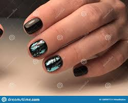 Professional Nail Designs Pictures Design On Black Nail Gel Polish Stock Image Image Of Style