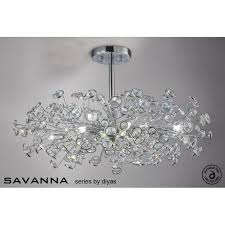 savanna large 8 light ceiling fitting in polished chrome with crystal discs