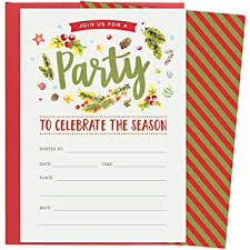 Christmas Inviations Christmas Party Invitations For Holiday Celebrations Set Of 25 Red Envelopes And Fill In The Blank Style Invites Festive Design Winter Florals And