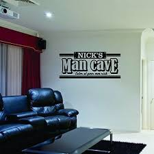 custom name man cave wall decal personalized name man cave vinyl wall decal sticker art guy s cave decal basement decal gift for dad bar rec room  on wall art mens with mens wall decor amazon