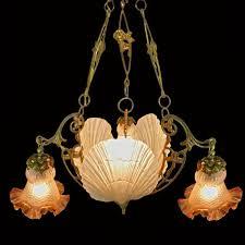 antique french gold bronze art deco art nouveau chandelier w amber glass shades