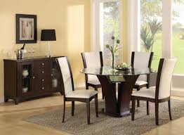 modern black round dining table. Contemporary Dining Room Ideas With Round Glass Table And White Leather Chairs Modern Black