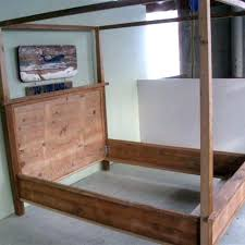 Farmhouse Canopy Bed Hand Made Wooden Canopy Bed By Reclaimed Wood ...