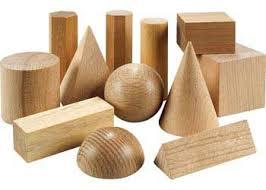 Wooden Geometric Solids  12 Pieces - 2D & 3D Shape