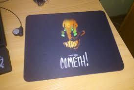 Mine: http://i.imgur.com/QFDknke.jpg. For a dollar mousepad ...