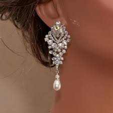 bridal rhinestone earrings wedding earrings pearl earrings ch
