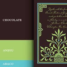 wedding colors in dark brown, pear green and aqua