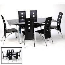 extendable dining table in black glass and chrome in dining table black glass
