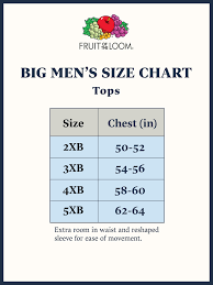 3xb Size Chart Fruit Of The Loom Big Mens White A Shirts 3 Pack