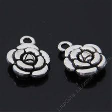 15x tibetan silver rose flower pendant