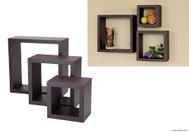 floating wall shelves wood cube set of 3 vintage decorative display mount decor
