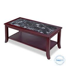 SLEEPLACE NEW Black Tone Marble Top Mahogany Wooden Coffee Table