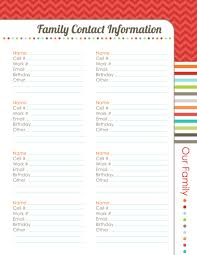 Family Contact List Template Organizing Planner The Harmonized House Project Worldlabel Blog