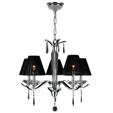 gatsby collection 5 light arm chrome finish and clear crystal chandelier with black string empire sh
