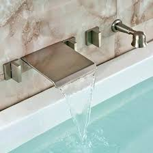 wall mounted bathtub faucets brushed nickel wall mount waterfall faucet with handheld shower wall mounted bathtub