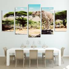 Modular Living Room Designs 5 Pieces Printed Animal African Leopard Paintings Wall Art Canvas