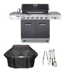 deluxe 6 burner propane gas grill in slate with ceramic searing side burner plus cover and tool set