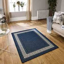 greek key flatweave blue rug