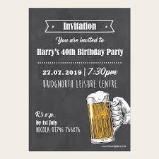 40th Birthday Invitations 40th Birthday Invitations Chalkboard Beer