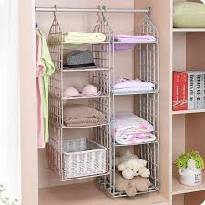 details about wardrobe storage diy hanger hanging closet organizer clothes shelf rack