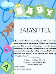 Babysitting Ads Free Babysitting Flyer Template Free Babysitting Flyers Childcare
