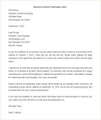 Contract Termination Letter Format With Regard To Business Of