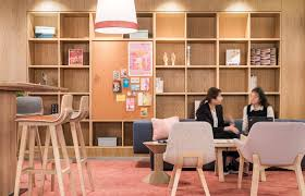 office space image. Flexible Office Space With Wooden Shelves, Designer Furniture And Networking Opportunities. Image S