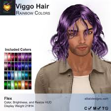 Purple Pack Hair Color Chart Second Life Marketplace A A Viggo Hair Rainbow Colors Pack