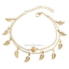 Dropshipping for Vintage Double Layer <b>Metal Leaf Ankle Bracelet</b> to ...
