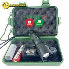 Đèn pin siêu sáng T6 pin cực lâu nhỏ gọn chiếu xa 200m đủ phụ kiện : sạc pin  hộp đựng chuyên dụng cho dân phượt chính hãng