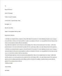 Acceptance Letter For Offer Sample Job Acceptance Letter 7 Examples In Word Pdf