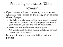 literacy narrative examples ppt video online  preparing to discuss sister flowers
