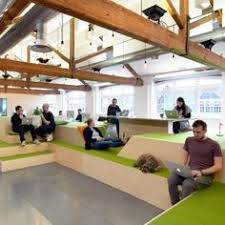 Image Layout An Indoor Village Green Bleacherstyle Seating And Reception Desk Modelled On Front Porch All Feature Within Airbnbs Latest Office Designs Pinterest 1091 Best Office The Workspace Images In 2019 Design Offices