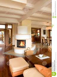 Modern Living Room With Fireplace Stylish Modern Living Room With Fireplace Royalty Free Stock Photo