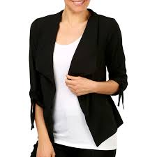 b collection women s tie sleeve jacket black