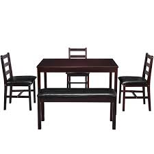 5 Pcs Dining Table Set Solid Wood Kitchen Table Set With Bench And