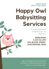 Professional Babysitting Services Green Illustrated Owl Babysitting Agency Flyer Templates