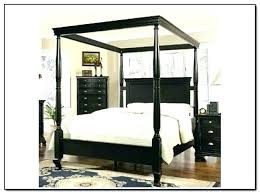 Queen Wooden Canopy Bed Size Frame Wood Living Spaces Home ...
