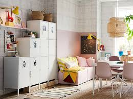 ikea office ideas. White HÄLLAN Cabinets Placed Against A Side Wall And Used For Storage In Compact Pink Ikea Office Ideas U