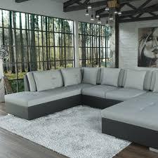 Sofa Polsterecke Alimia Schwarz Strukturstoff Grau Ecksofa Von Jalano Wohnlandschaft U Form Couch Garnitur Mit Kissen