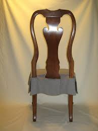 rear view of seat cover for antique dining room chair