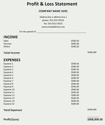 Statement Of Profit And Loss Profit And Loss Statement Template